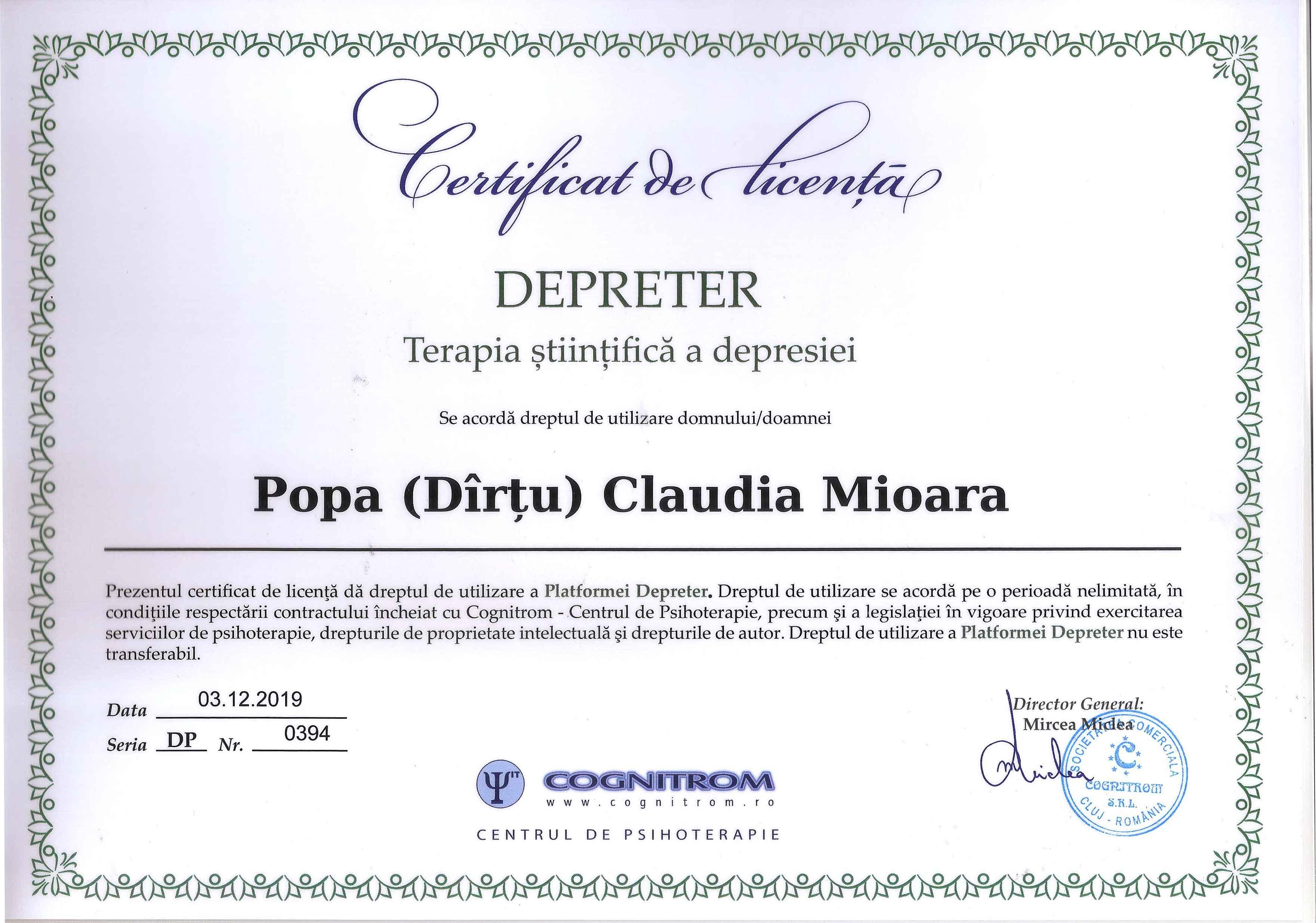 Certificat de licenta Depreter Terapia stiintifica a depresiei Popa Claudia Mioara