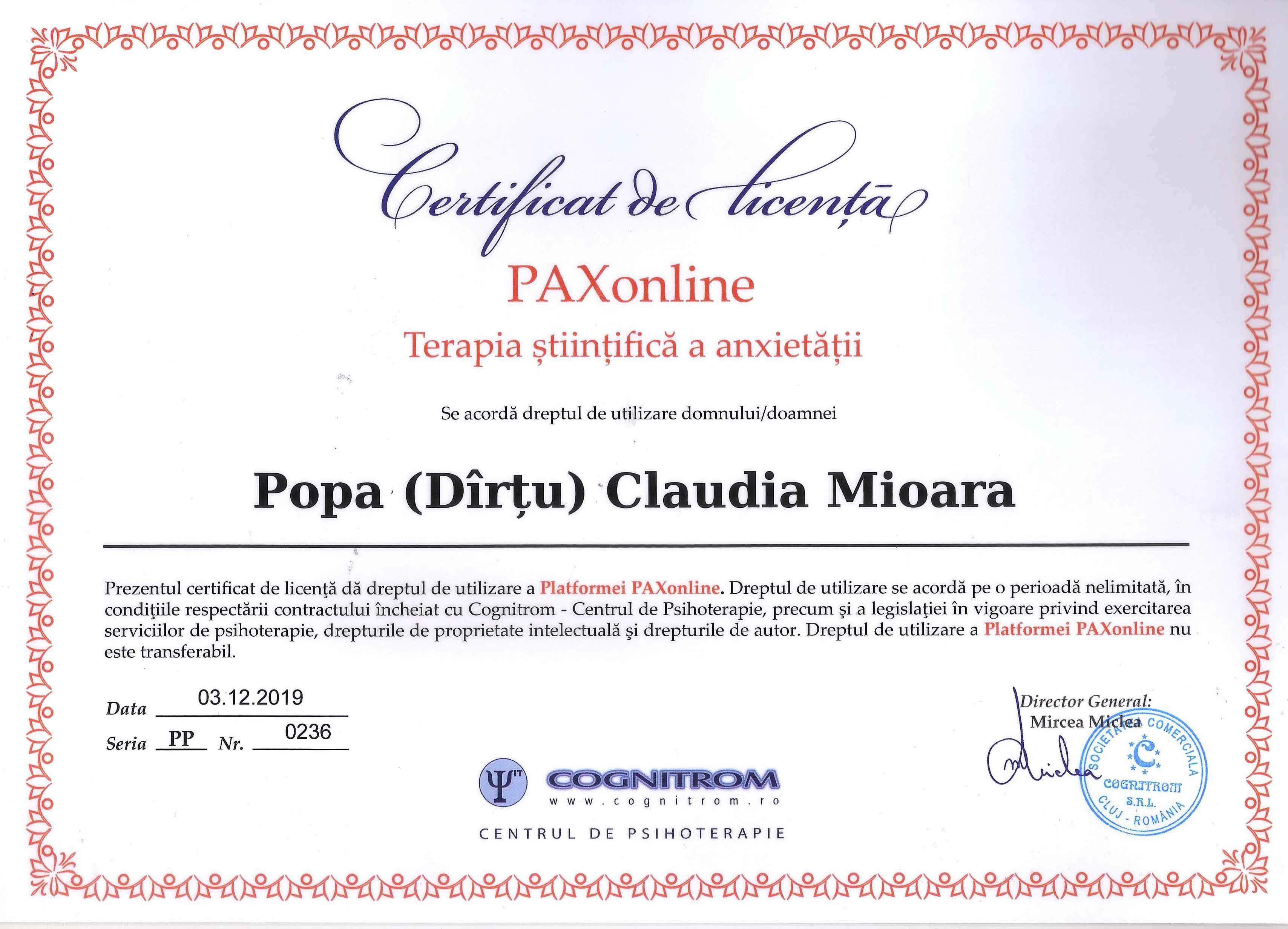 Certificat de licenta PAXonline Terapia stiintifica a anxietatii Popa Claudia Mioara